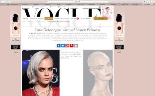 Vogue.de | Beitrag über die Frisuren von Cara Delevigne auf Vogue.de vom 11.05.2017